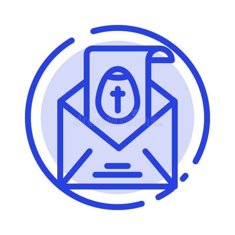 Masaje, correo, Pascua, línea de puntos azul línea icono del día de fiesta ilustración del vector