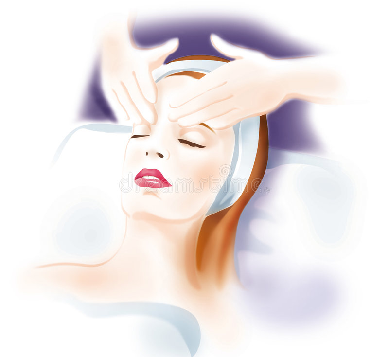 Masaje de cara de la mujer - cuidado de piel ilustración del vector