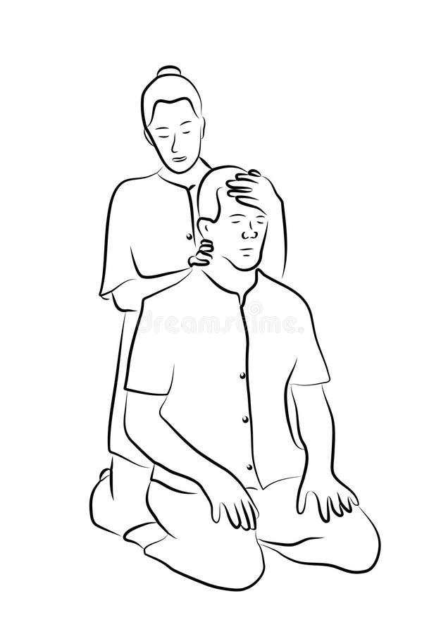 Masaje de Shiatsou ilustración del vector