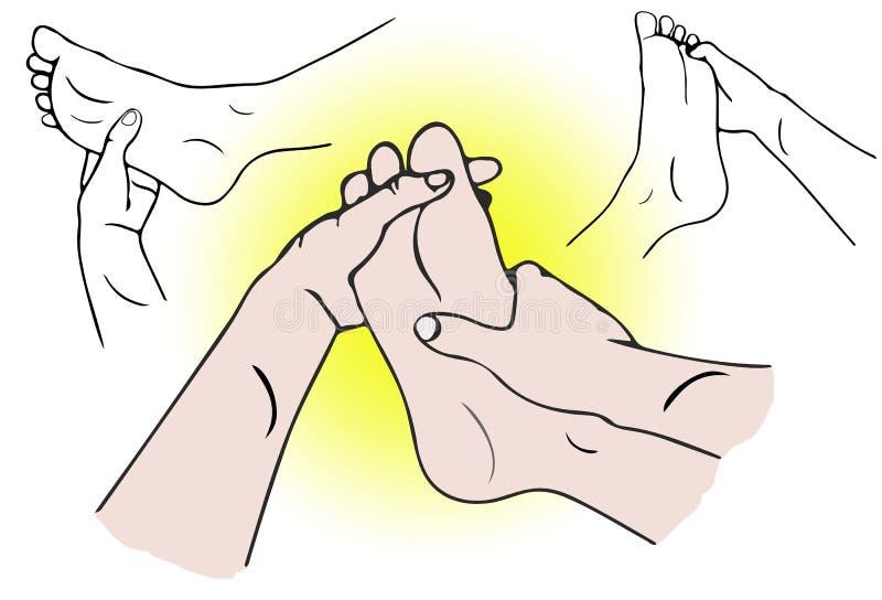 Masaje del pie del balneario stock de ilustración