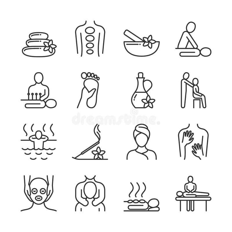 Masaje relajante y línea orgánica pictogramas del balneario Iconos del vector de la terapia de la mano ilustración del vector