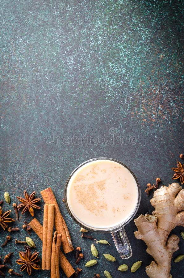 Masala chai with spices royalty free stock photo