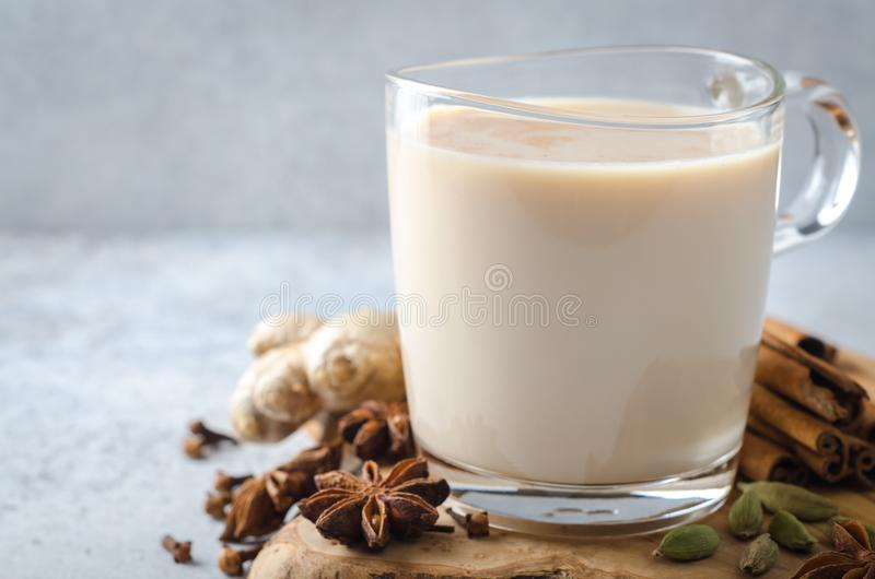 Masala chai with spices stock photo