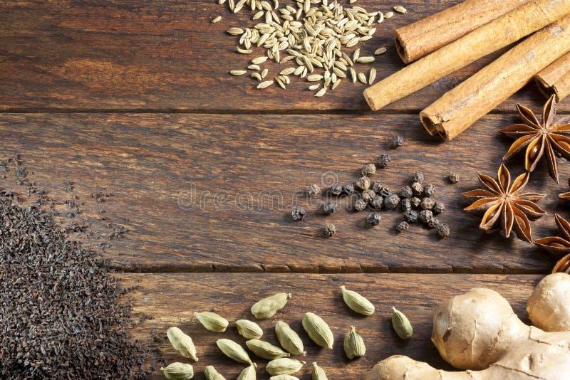 Masala Chai Tea Ingredients Background immagini stock