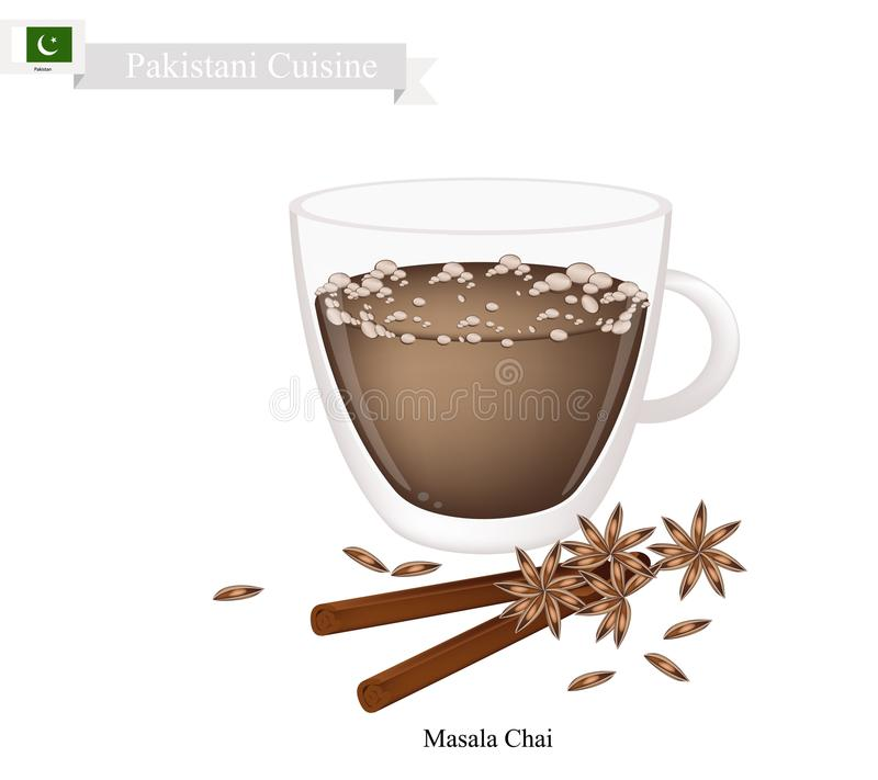 Masala Chai, Tradycyjna Pakistańska Czarna Gorąca herbata ilustracja wektor