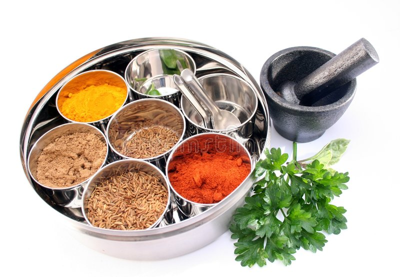 Masala Dabba -Indian spice box stock photos