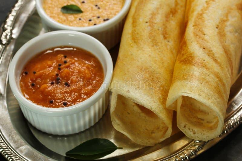 Masala Dosa with chutney, Indian breakfast stock image