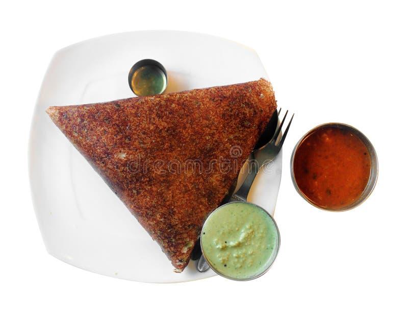 Masala dosa chutney and sambar with clipping mask stock images