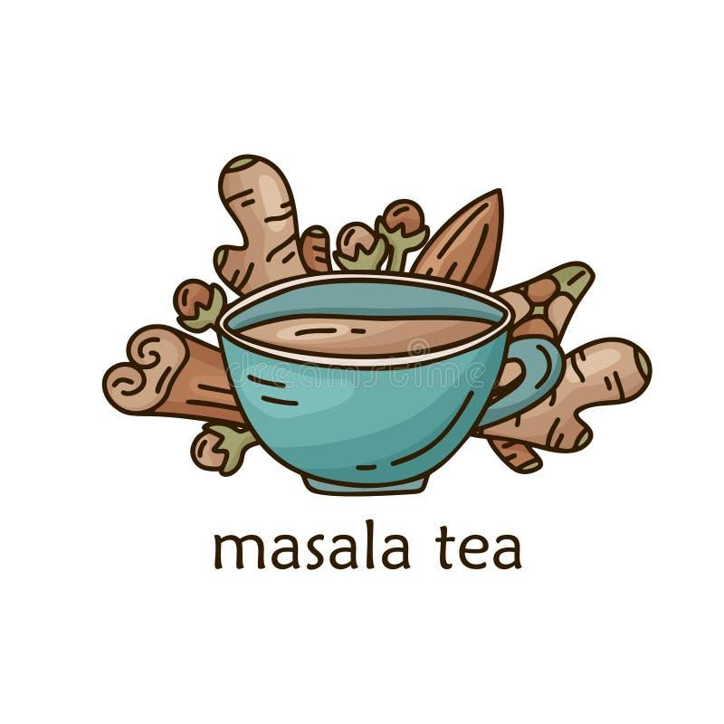 Masala-theeposter Kleurenstriptekenbekertje met kaneel, gember, kardamom, klaver, amandel Handgetrokken vectorvoedingsconcept Lij vector illustratie