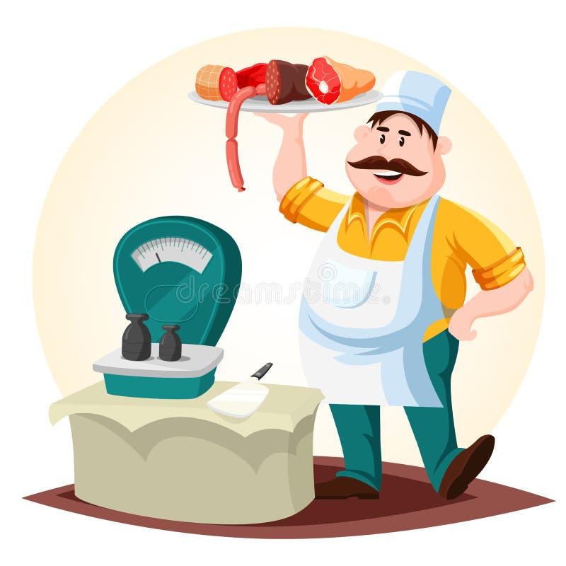 Masarka lub mięsny sklepu pracownik z kiełbasami ilustracji