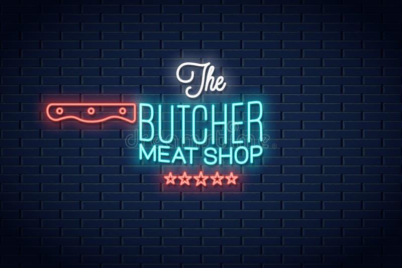 Masarka neonowy znak Mięsnego sklepu logo neonowy tło ilustracja wektor