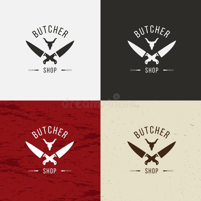 Masarka sklepu ikona, masarka sklepu logo, odosobniony masarka sklepu emblemat Krowy twarz i nożowa retro ilustracja Na bielu, ilustracja wektor