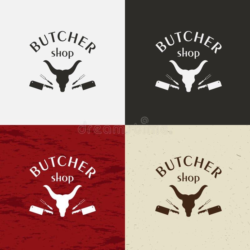 Masarka sklepu ikona, wektorowy masarka sklepu logo, masarka sklepu emblemat Krowy twarz i nożowa retro wektorowa ilustracja ilustracja wektor