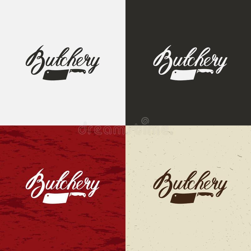 Masarka sklepu ikona, wektorowy masarka sklepu logo, masarka sklepu emblemat Krowy twarz i nożowa retro wektorowa ilustracja ilustracji