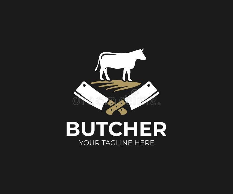 Masarka sklepu loga szablon Krowy i mięsnego cleaver nożowy wektorowy projekt royalty ilustracja