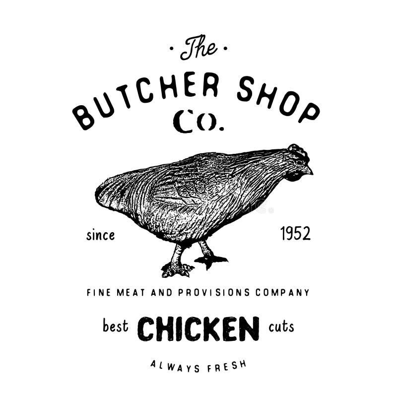 Masarka sklepu rocznika emblemat, chiken mięsnych produkty, butchery loga szablonu retro styl Rocznika projekt dla logotypu, etyk ilustracji