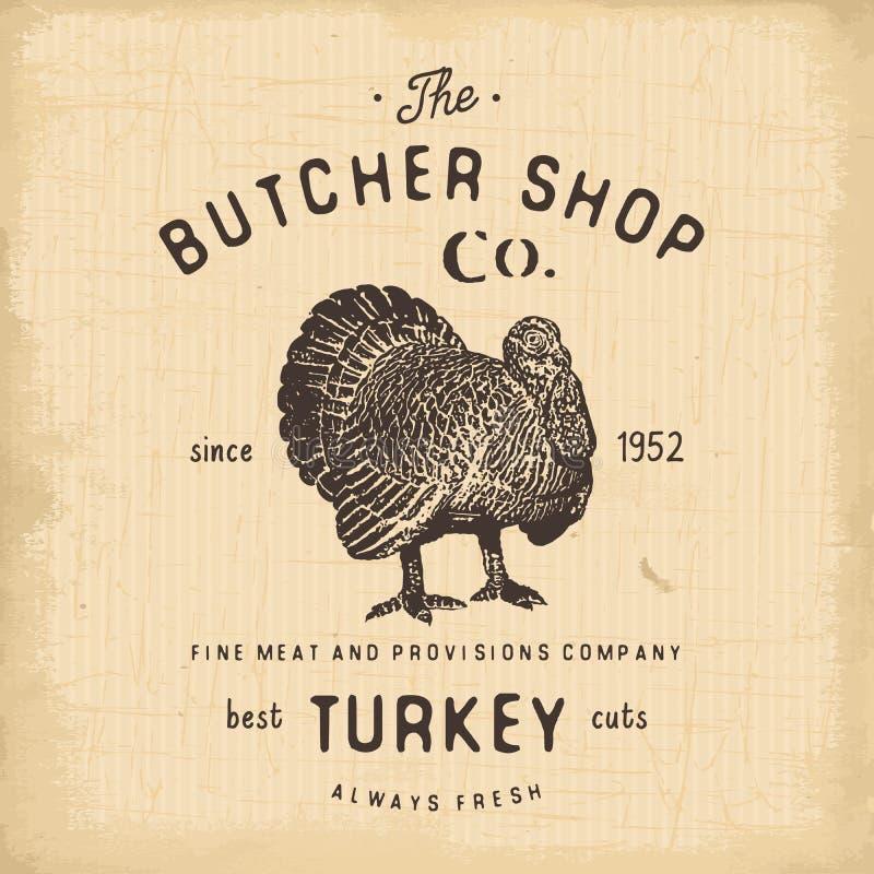 Masarka sklepu rocznika emblemata indyczy mięśni produkty, butchery loga szablonu retro styl Rocznika projekt dla logotypu, etyki ilustracji