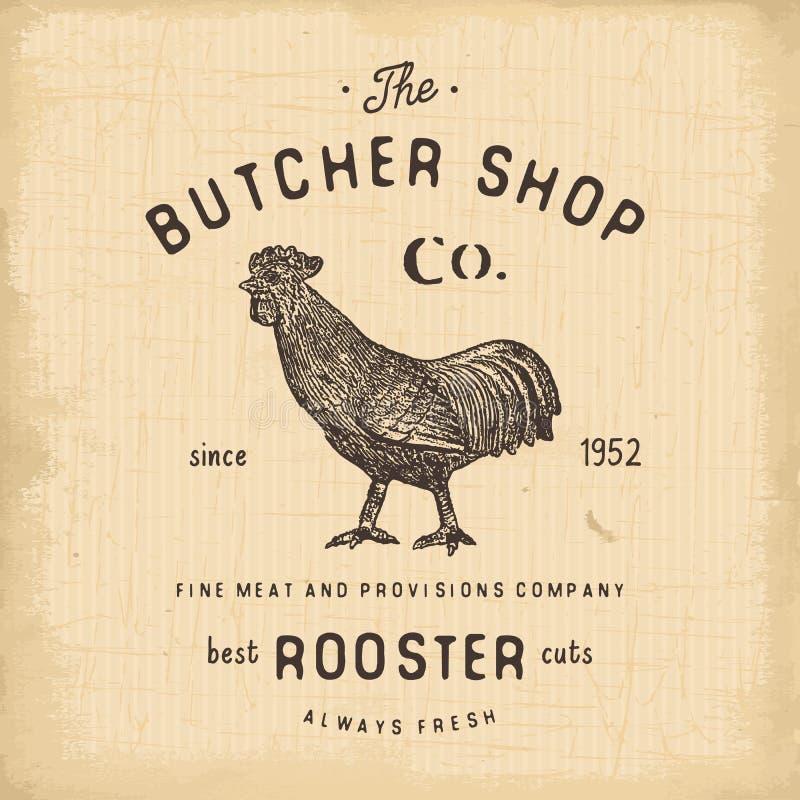 Masarka sklepu rocznika emblemata koguta mięśni produkty, butchery loga szablonu retro styl Rocznika projekt dla logotypu, etykie ilustracji