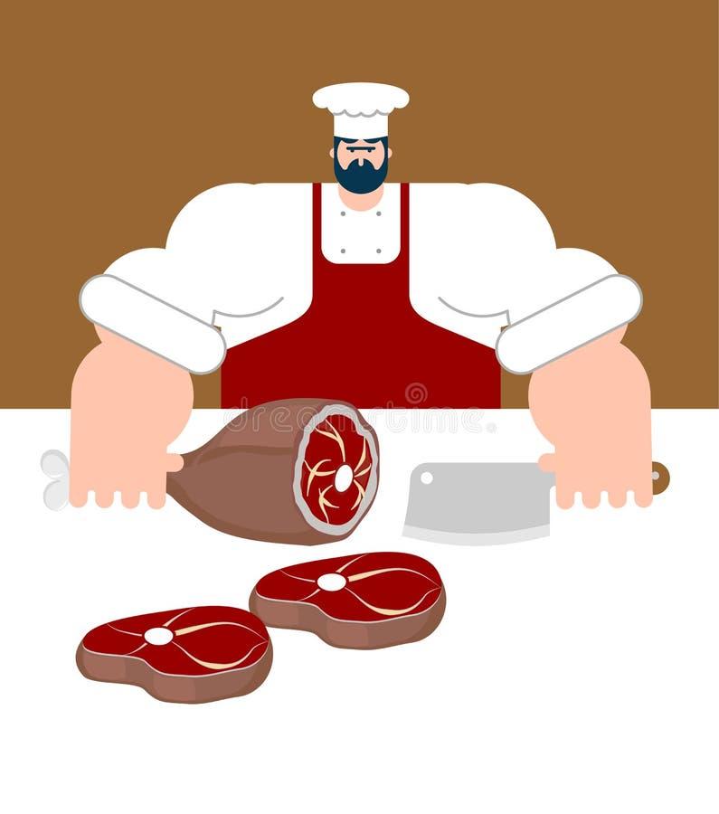 masarka Szef kuchni i nóż dla mięsa Steakhouse kucharz Wektorowy illus ilustracja wektor