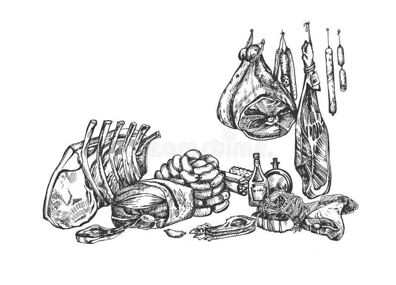 Masarki i mi?snego rynku set ilustracja wektor