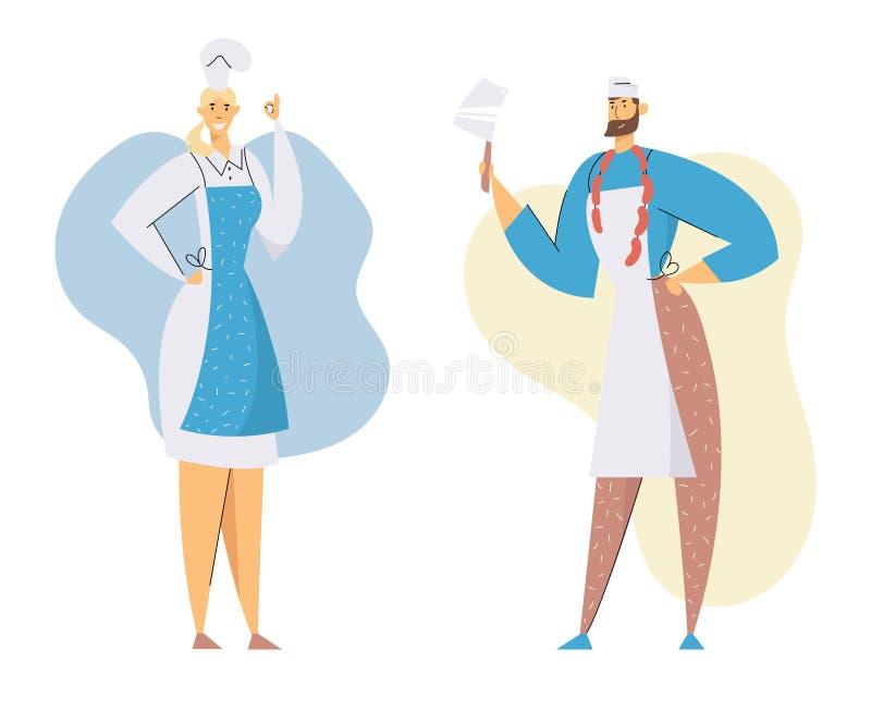 Masarki Męskie i Żeńscy charaktery w Przedstawia produkcję Naczelnym Toque i mundurze Mężczyzna z nożem i kiełbasami ilustracji
