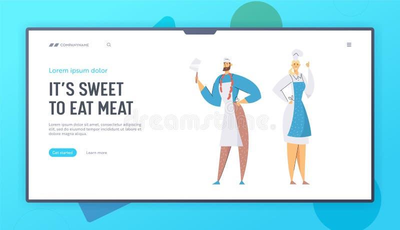 Masarki Męskie i Żeńscy charaktery w Przedstawia produkcję Naczelnym Toque i mundurze Mięsnego sklepu sprzedawcy, restauracja ilustracji
