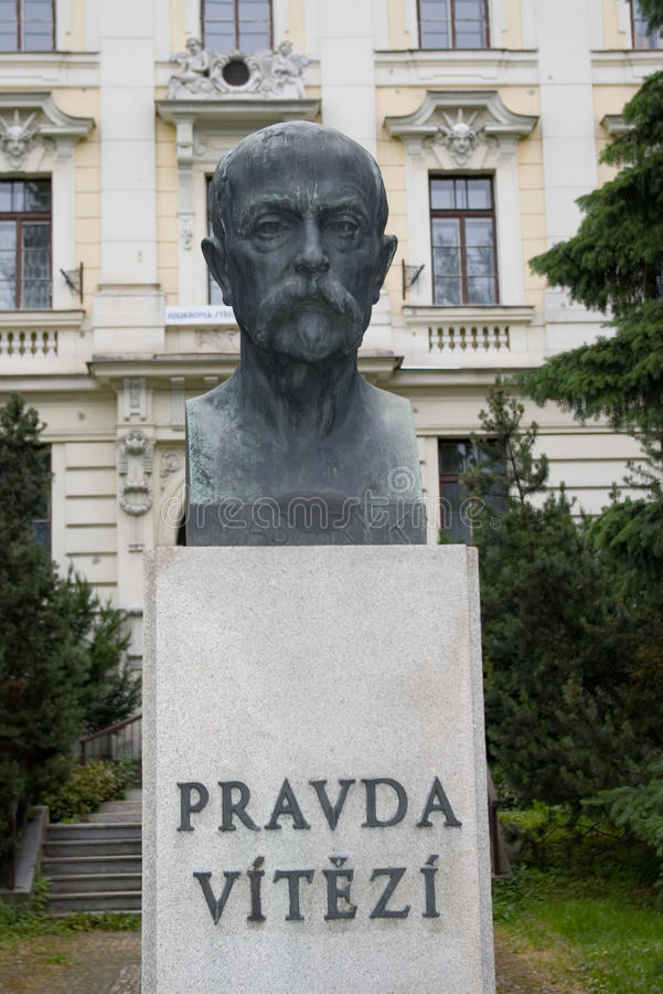 Masaryk bust with quote. Tomas Garrrigue Masaryk bust with czech national quote ´The Truth wins stock photography