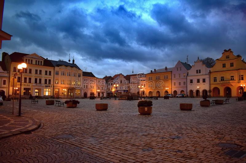 Masaryk Square in Pelhrimov in the Czech Republic stock photos