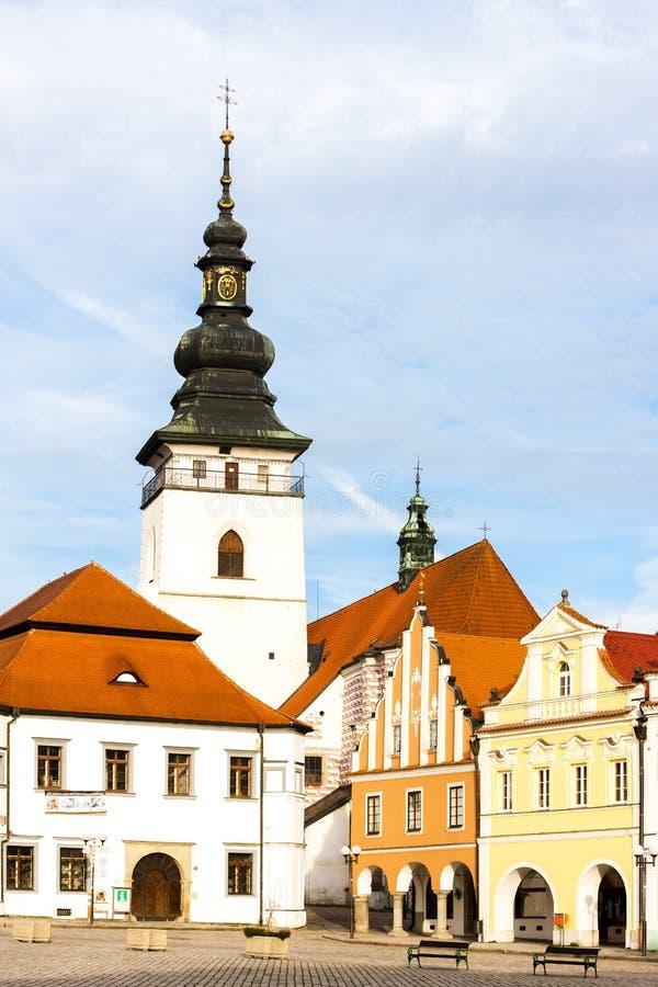 Masaryk Square, Pelhrimov, Tjeckien royaltyfri bild