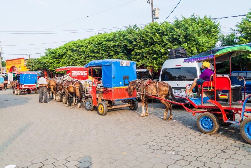 MASAYA, НИКАРАГУА - 30-ОЕ АПРЕЛЯ 2016: Экипажи лошади в Masaya, Nicarag стоковая фотография rf