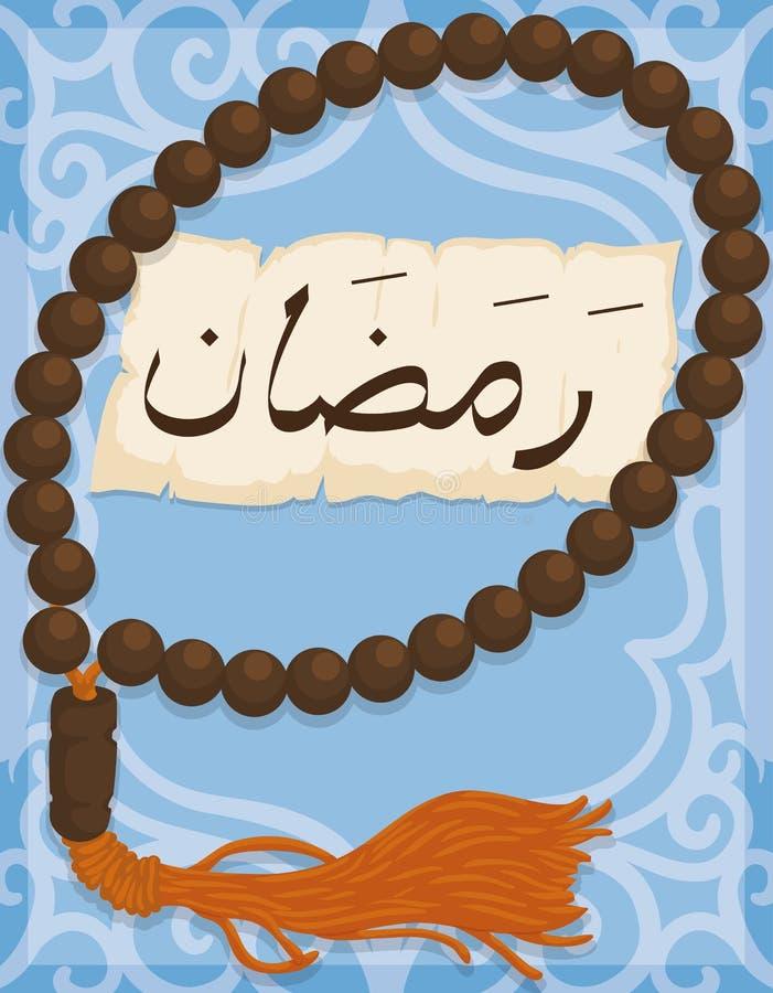 Masbaha с Tassel с переченем над арабской картиной для Рамазана, иллюстрацией вектора иллюстрация штока