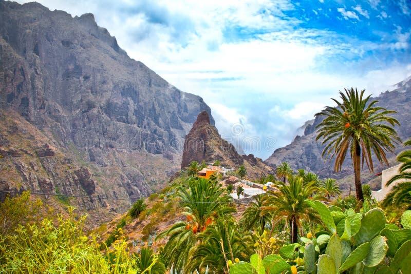 Masca-Dorf in Teno-Bergen, Teneriffa, Spanien lizenzfreies stockbild