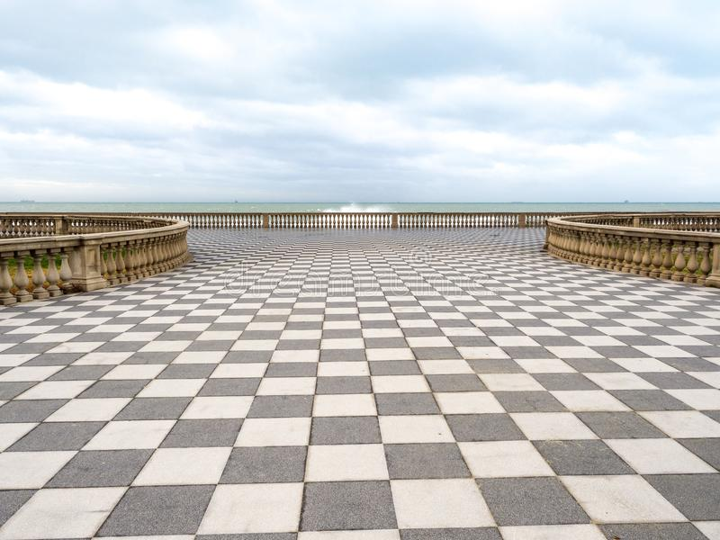 Mascagni Terrace in Livorno at sunset before the storm. Cloudly day. January, 2018 royalty free stock photography