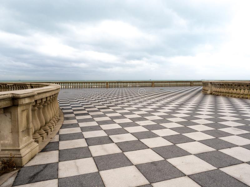Mascagni Terrace in Livorno at sunset before the storm. Cloudly day. January, 2018 stock photography