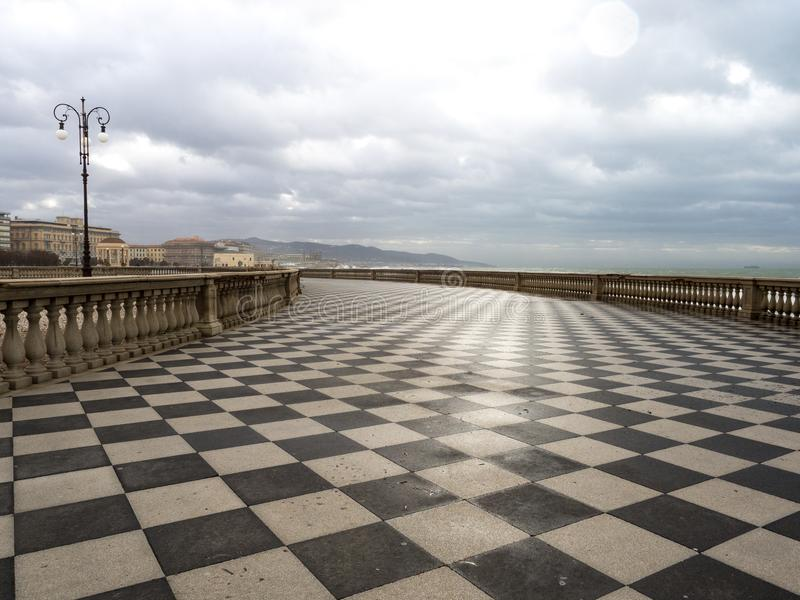 Mascagni Terrace in Livorno at sunset before the storm. Cloudly day. January, 2018 stock photo