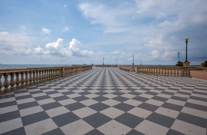 Mascagni Terrace, promenade of Livorno, picturesque seashore in Tuscany, Italy. Europe royalty free stock photography