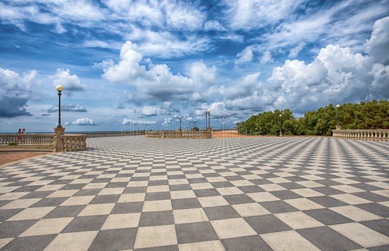 Mascagni Terrace, promenade of Livorno, picturesque seashore in Tuscany, Italy. Mascagni Terrace, promenade of Livorno, picturesque seashore in Tuscany, Italy royalty free stock photography