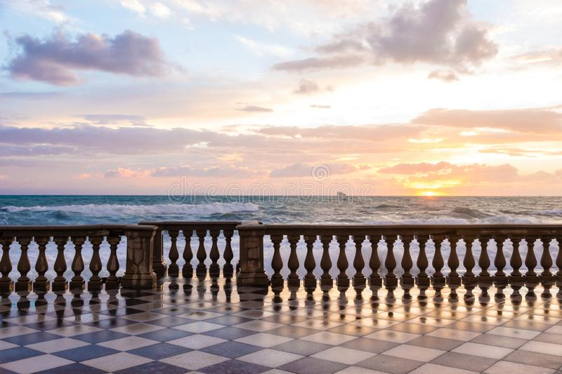 The Mascagni terrace is a belvedere in Leghorn, Italy royalty free stock images