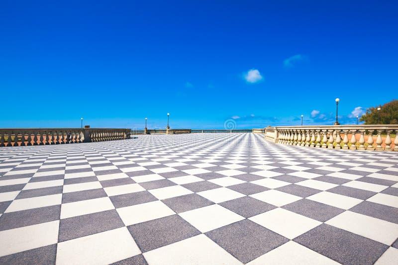 Mascagni Terrazza terrace belvedere, black and white floor. Livorno Tuscany Italy stock photography