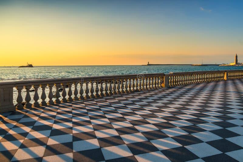 Mascagni Terrazza terrace and harbour entrance at sunset. Livorno Tuscany Italy. Mascagni Terrazza terrace belvedere seafront and harbour entrance at sunset stock photos