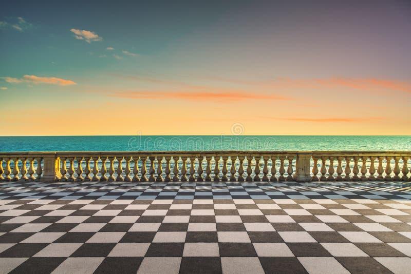 Mascagni Terrazza terrace at sunset. Livorno Tuscany Italy. Mascagni Terrazza terrace belvedere seafront at sunset. Livorno Tuscany Italy Europe royalty free stock image