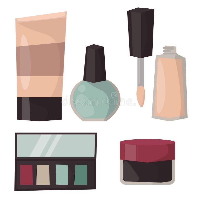 Mascara αρώματος εικονιδίων Makeup η χτένα βουρτσών προσοχής αντιμετώπισε το θηλυκό βοηθητικό διάνυσμα γοητείας σκιάς ματιών απεικόνιση αποθεμάτων