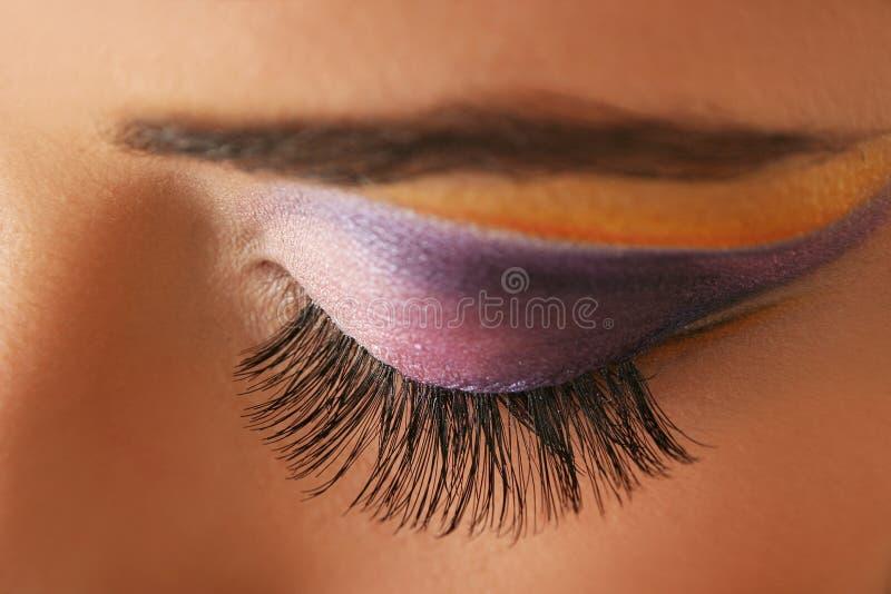 Mascara. Woman eye with bright beautiful make-up stock photography