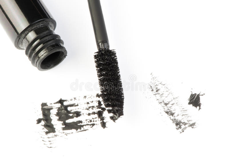 Mascara. White . Smudged on paper stock photos