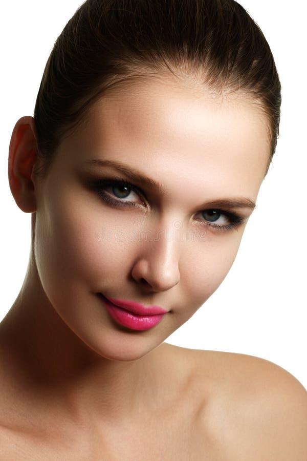 Mascara Applying. Long Lashes closeup. Mascara Brush. Eyelashes royalty free stock image