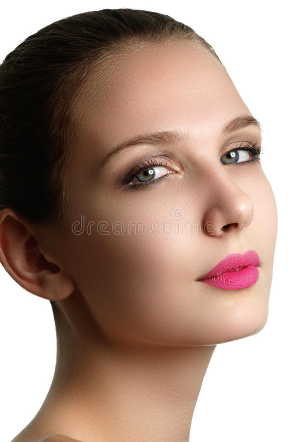Mascara Applying. Long Lashes closeup. Mascara Brush. Eyelashes royalty free stock photo