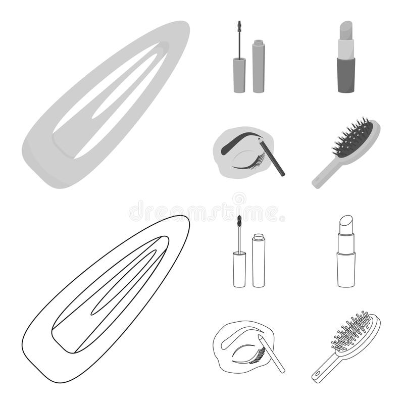 Mascara hårborste, läppstift, ögonbrynblyertspenna, fastställda samlingssymboler för makeup i översikten, monokromt materiel för  vektor illustrationer