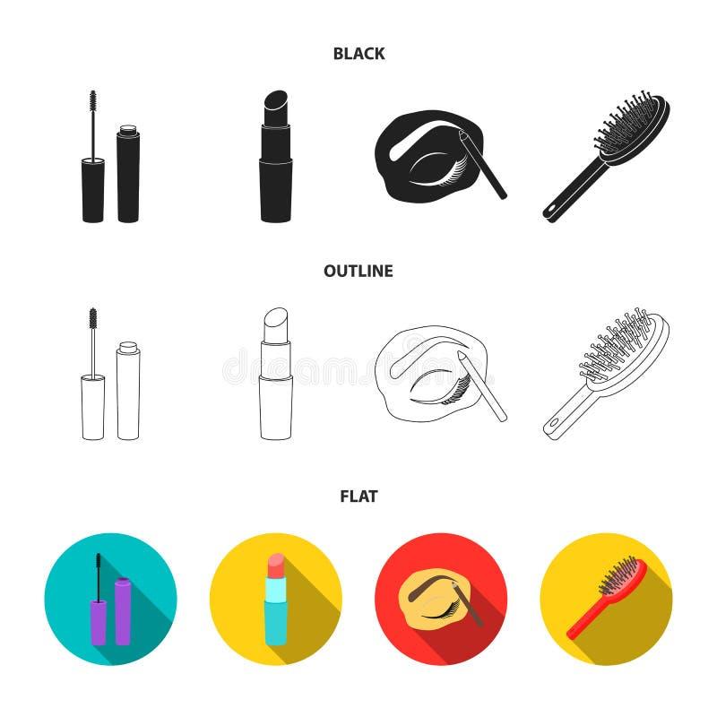 Mascara hårborste, läppstift, ögonbrynblyertspenna, fastställda samlingssymboler för makeup i svart, lägenhet, materiel för symbo stock illustrationer