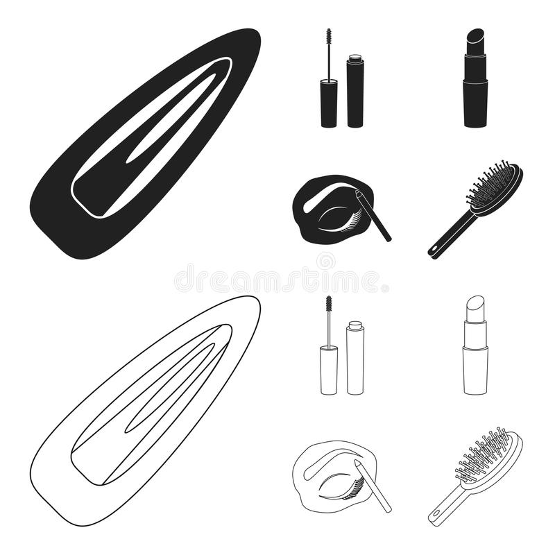 Mascara hårborste, läppstift, ögonbrynblyertspenna, fastställda samlingssymboler för makeup i svart, materiel för symbol för över stock illustrationer