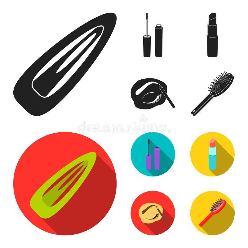 Mascara hårborste, läppstift, ögonbrynblyertspenna, fastställda samlingssymboler för makeup i svart, materiel för symbol för läge stock illustrationer